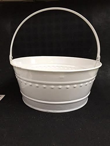 New Dover M705pw White Metal Tub Can Pail Bucket With Handle 11