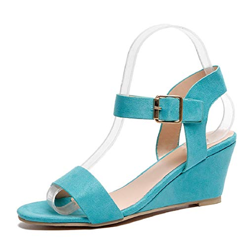 HULKAY Wedges Heel Sandals for Women丨Summer Newest Beach Ankle Strap Buckle Low Wedge Sandal丨Women's Casual Open Toe Sandals(Blue,US:8/CN:41) (Rain Women For Boots Aldo)