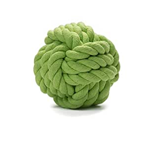 Gnaw and Fetch Knot Rope Ball Chew Dog Puppy Toy by Prime Pet Source - Green Small