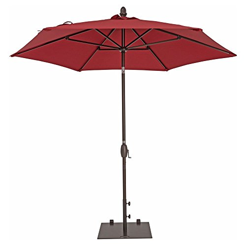 Square Garden Parasol (Patio Umbrella - TrueShade Plus Market Umbrella Garden Parasol with Push Button Tilt and Crank Includes Storage Cover - Freestanding or Table Hole. - 9' Diameter - Jockey Red)