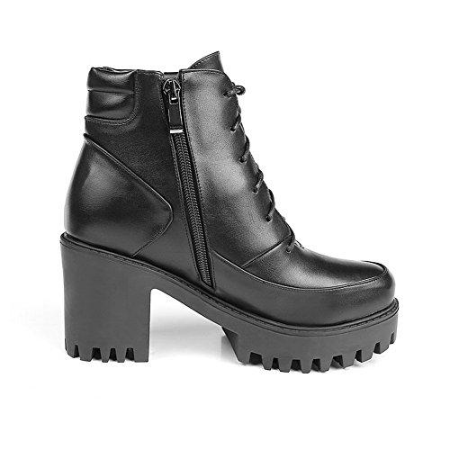 Material Boots Soft Heels Black High Toe Top Round Womens Low Zipper Closed AgooLar IPwxqXpgp