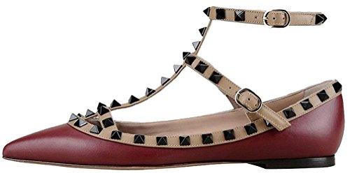 Calaier Mujer Cahouse Plataforma 0CM Sintético Hebilla Sandalias de vestir Zapatos Rojo B