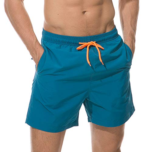 SKYWOO Men's Quick Dry Swim Trunks Beach Wear Shorts Mesh Lining Swimwear Bathing Suits (Peacock Blue, X-Small)