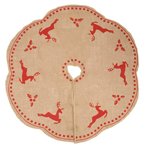 Holly Christmas Tree Skirt - Juvale Burlap Christmas Tree Skirt - Winter Holiday Vintage Decoration, 48-Inch Skirt with Red Reindeer and Holly Design, Classic Style Indoor Festive Season Decor