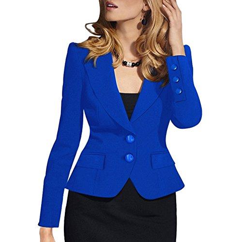 SEBOWEL Woman Casual Long Sleeve Work Office Business Jacket Blazer Suit Blue - Office Jacket