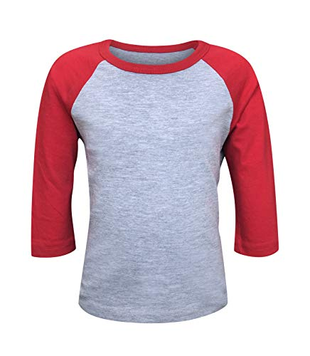 ILTEX Kids & Youth Baseball Raglan T-Shirt 3/4 Sleeve Infant Toddler Youth Athletic Jersey Sports Casual (20+ Colors) (Y-Large, Gray/Red)