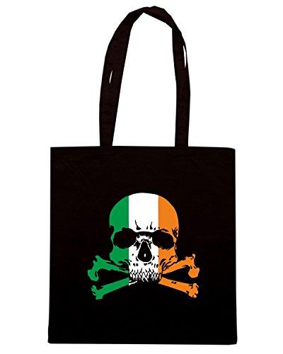 T-Shirtshock - Bolsa para la compra TIR0109 irish skull n crossbones dark tshirt Negro