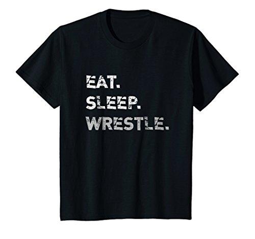 Kids Eat Sleep Wrestle Wrestling T-Shirt 10 Black by Wrestling Life Shirts