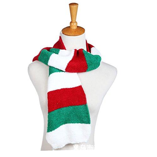 Scarf Stripe 3 (UCLL Unisex Children Cotton Scarf Kids Winter Warm Stripe Neck Scarves 3-12 years Christams Gift (Green Red))