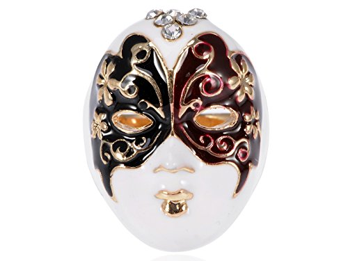 Alilang Enamel Paint Butterfly Venetian Masquerade Lady Face Mask Ring ()