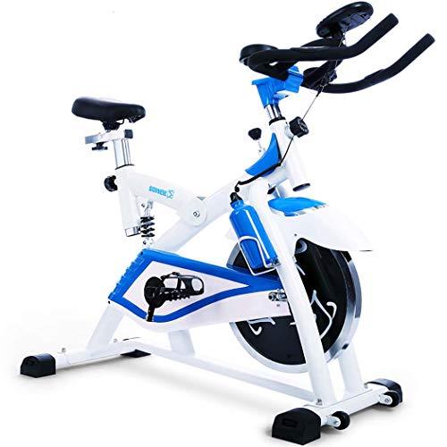 JSYFZ Transmisión por Correa estacionaria, Bicicleta estática para Ejercicios Equipo de Ejercicio Cardiovascular con sensores de Pulso cardíaco con Volante Pantalla LCD Asiento Ajustable,Blu