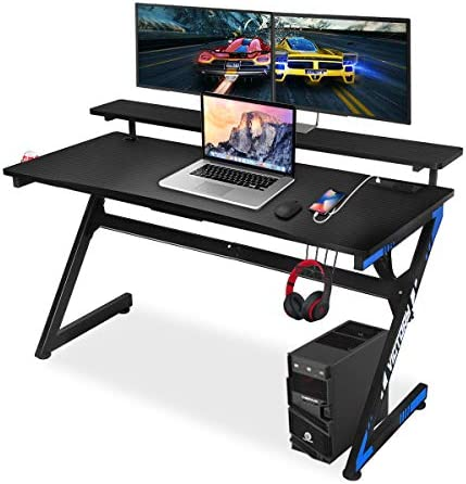Gaming Computer Desk 55 Inch Large Gaming Table Z Shape Black Racing Table Student Desk