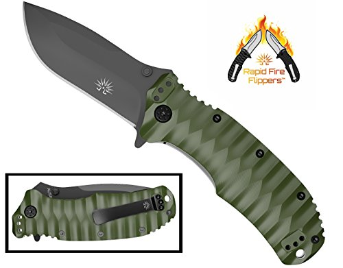 Off-Grid Knives - Rapid Fire Ranger - Camping & Hunting Knife, Cryo Japanese AUS8 Blade with Olive Drab G10 Scales & All-Position Mounting Clip, Survival, Hiking, Fishing, Boating, Prepper, Bushcraft