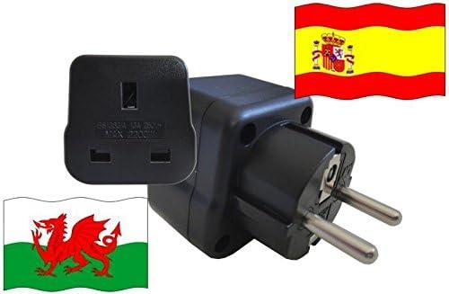 Adaptador de Viaje a España de Gales ES-GB Enchufe de Viaje España (Contacto Protección, 2200 Vatios): Amazon.es: Bricolaje y herramientas