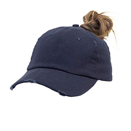 Eohak Ponytail Baseball Hat Distressed Retro Washed Cotton Twill (Navy 3)