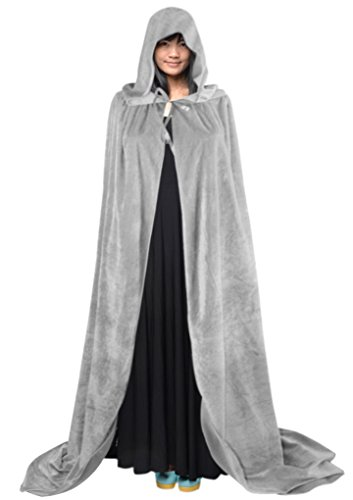 Robe With Grey Hood Costumes (Adult Halloween Party Magic Cosplay Hooded Costume Cloak Cape Coat Shaw Robe Long Full Length)