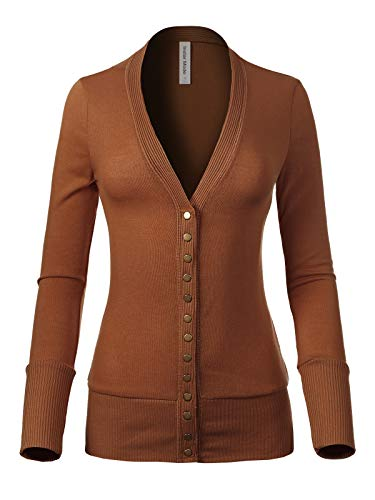 Design by Olivia Women's Soft Basic V-Neck Snap Button Down Knit Cardigan Camel - Camel Cardigan