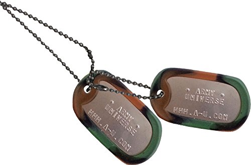 Army Universe Matte Custom Embossed Stainless Steel Military Style Dog Tag Set - Woodland Camouflage Silencer ()