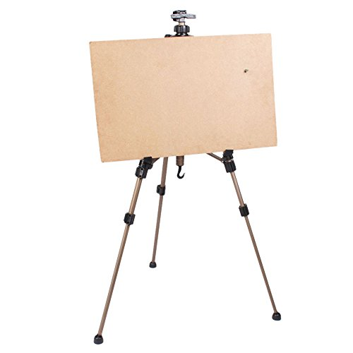 Crazyworld Artist Folding Hand Easel Tripod Table and Floor Stand Adjustable Height Light Weight with Carry Bag, Large Size New Artist Zinc Alloy Champagne (Carrying Easel Case Presentation)