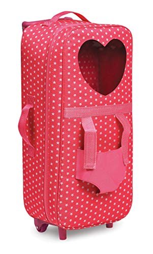 Badger Basket Trolley Doll Carrier with Plush Friend Harness (fits American Girl Dolls), Pink/Star