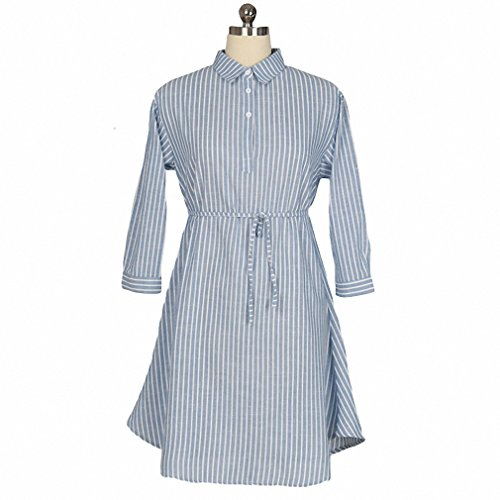 New Arrival Fashion Striped Long Sleeve Comfortable Cotton Linen Loose Casual Shirt Dress Plus Size Women Dresses photo color L (Petite Sirene Costume)