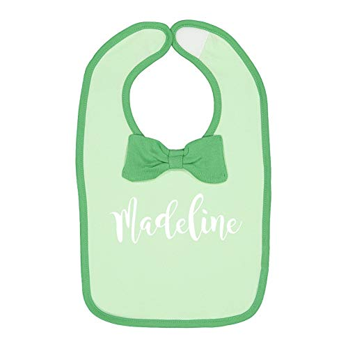 Madeline - Personalized Name Baby Cotton Bow Tie Baby Bib (Mint/Grass)