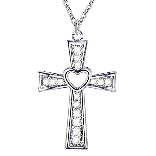 ♥♥FINE JEWELRY♥♥ BEAUTIFUL Silver Christian Cross Heart Pendant I Love Jesus Necklace ,Jewelry with a Luxury Gift Bag for Easy Gift Giving Woman (Beautiful Mens Jewelry)