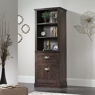 Sauder New Grange Tall 3 Shelf Bookcase in Coffee Oak - Oak Tall Bookcase