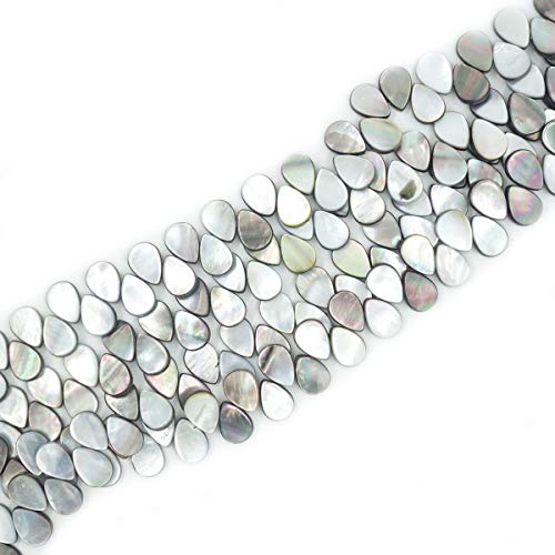 13x18mm Flat Teardrop Black Mother of Pearl Shell Beads Loose Gemstone Beads for Jewelry Making Strand 15 Inch (44pcs)