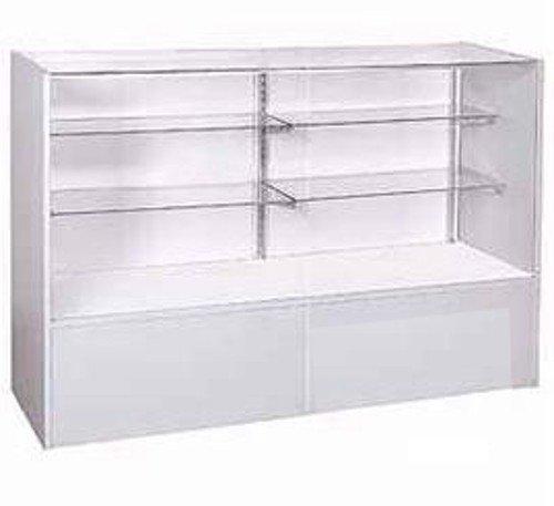 New Gray Display Case Full Vision with Split glass Shelves 38