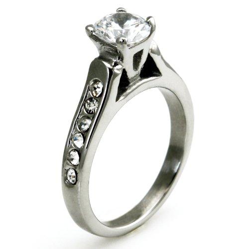West Coast Jewelry Imitation Diamond Solitaire Ring with Channel Set CZs - Size (Channel Set Czs Ring)