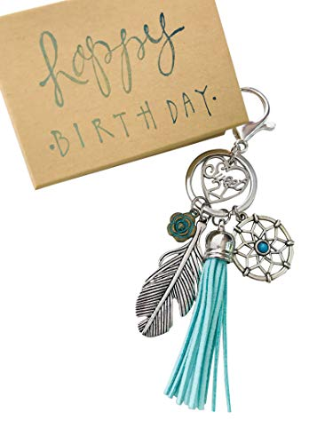 Dream Catcher 21st Birthday Gift for Her Adorable Key Chain, Packaged in Hand Stamped Box