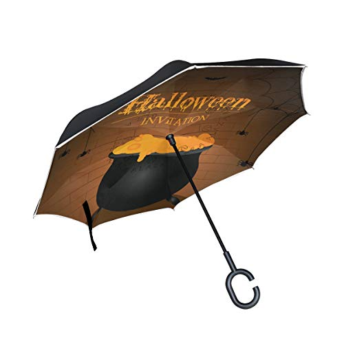 FAJRO Holloween Upside Down Inverted Umbrellas C-Shaped Handle for Car/Rain -