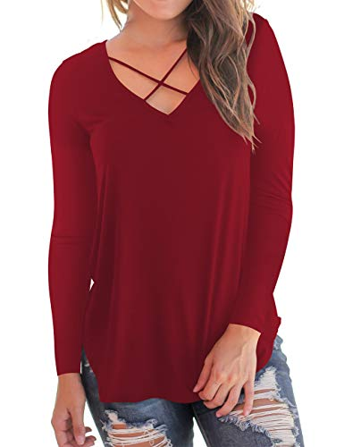 Cross Womens V-neck T-shirt - Women's Tunic Tops Criss Cross V-Neck Long Sleeve T Shirt Wine Red XL