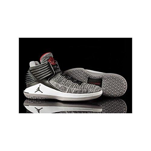 Nike Herren Air Jordan xxxii Schwarz Textil/Synthetik Basketballschuhe Schwarz (Black/White/Wolf Grey/University Red)