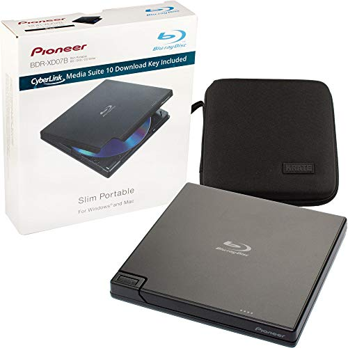 Pioneer BDR-XD05B Blu-Ray Player & Burner - 6X Slim External BDXL, BD, DVD & CD Drive for Windows & Mac with 3.0 USB - Write & Read on Laptop or Desktop, Includes CyberLink Media Suite 10 and Case