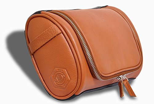 IFZA Leather Hanging Shaving Kit. Fathers Day / Groomsmen gift -100% Leather Toiletry Bag, Dopp Kit, Travel Organizer. - Caramel with Black Leather