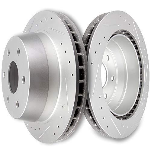 SCITOO Brake Rotors, High Performance Drilled Slotted Rotors Discs Brake Kit for Cadillac Escalade,Chevrolet Avalanche/Express/Silverado/Suburban 1500 Tahoe,GMC Yukon Savana/Sierra/Yukon XL 1500,Rear