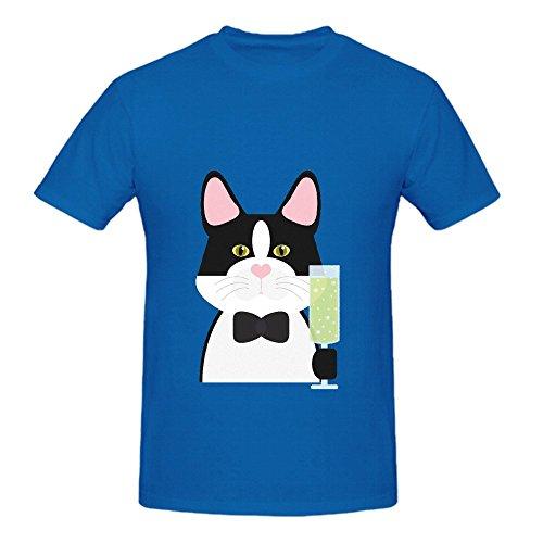 Fancy Black Cat Mens Crew Neck Digital Printed Shirt Blue (Brazil Fancy Dress Ideas)