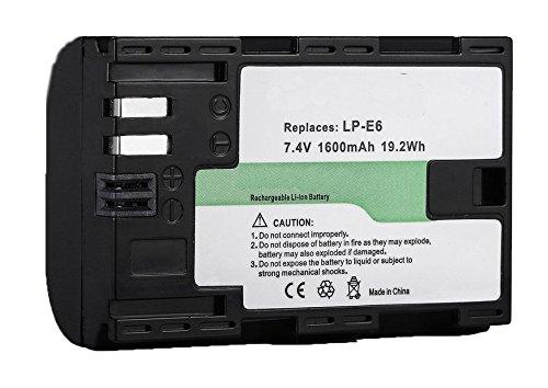 Amsahr Grade A de Celdas de baterí a (1800 mAh, 7.4 V) para Canon LP-E6 Gris 7.4V) para Canon LP-E6Gris BT-CNLPE6-1CT