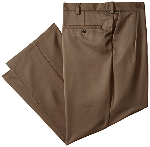 Haggar Men's Big-Tall Cool 18 Hidden Expandable Waist Pleat Front Pant, Bark, 46x32 (Two Pleat Pant)