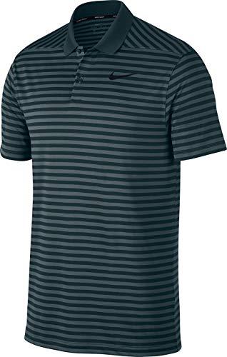 Nike Men's Dri Fit Victory Stripe LC Golf Polo (Faded Spruce/Midnight Spruce/Black, Medium)