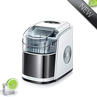 Joy Pebble Portable Ice Maker Machine, 9 Cubes Ready in 6-8 Minutes, 26lbs/24hrs, Countertop Ice Cube Maker with Ice Scoop and Basket (White)