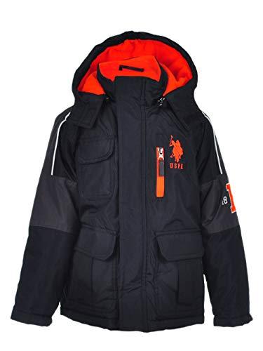 US Polo Association Boys' Little Stadium Parka Outerwear Jacket, Black/Charcoal 4