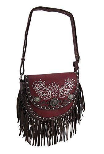 Zeckos Fringed Saddle Bag w/Embroidered Eagle and Conchos...