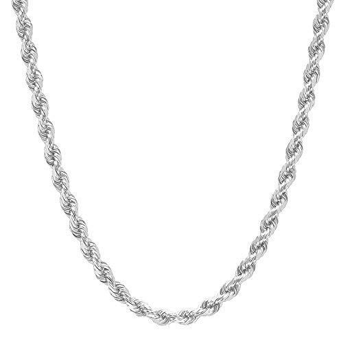"NYC Sterling Unisex Sterling Silver 4MM Diamond-Cut Rope Chain Necklace (18"")"