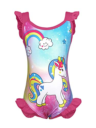 Cotrio Unicorn Swimsuit Girls One-Piece Swimwear Tankini Toddler Rainbow Bathing Suit Ruffles Swimming Suits Size 10 (140, 7-8Years, Rose Red) ()