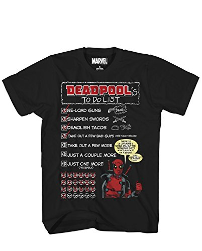 (Marvel Deadpool's To Do List Adult Mens T-shirt Black)