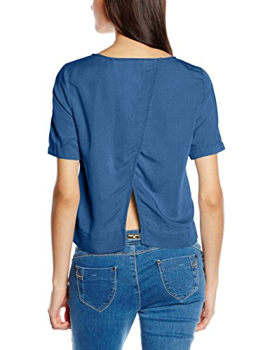 Only Onltexas Dnm S/S Shirt Box, Camiseta para Mujer Azul (Medium Blue Denim)