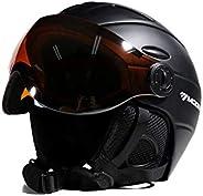 Ski Snowboard Helmet Detachable Snow Mask Anti-Fog Integrated Goggle Shield